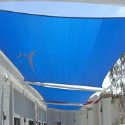 Blue 29 Ft Heavy Duty Steel Wire Cable Sun Shade Sail Canopy Patio Pool