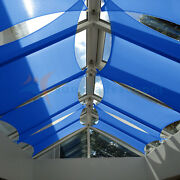 Blue 38 Ft Heavy Duty Steel Wire Cable Sun Shade Sail Canopy Patio Pool