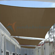 Brown 23 Ft Heavy Duty Steel Wire Cable Sun Shade Sail Canopy Patio Pool