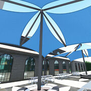 Blue 39 Ft Heavy Duty Steel Wire Cable Sun Shade Sail Canopy Patio Yard