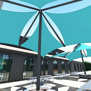 Turquoise 27 Ft Heavy Duty Steel Wire Cable Sun Shade Sail Canopy Patio Yard