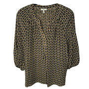 Joie Owl Top Xs Silk 3/4 Sleeve Blouse V-neck Pullover
