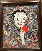 Cool Large Format Framed Betty Boop Collage Artist Signed One Of A Kind