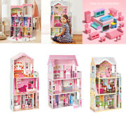 Large Kid's Wooden Dollhouse Dreamy Toy Family Doll House Playset W/furniture