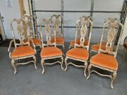 Vintage 1979 Drexel Heritage Chinoiserie Dining Table Chairs 8 Pc. Oriental Mcm