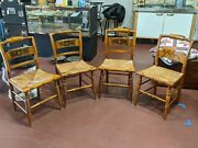 4 Vintage Hitchcock Signed Harvest Rush Bottom Dining Chairs Classic Americana