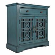 Craftsman Series 32 Inch Wooden Accent Cabinet With Fretwork Glass Front, Blue ,