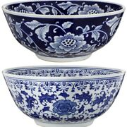 Round Ceramic Bowl With Floral Print Set Of 2 Blue And White