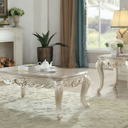 Wooden Coffee Table With Decorative Polyresin Carvings And Marble Top, White