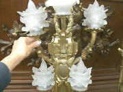 Wow Rare Large 36 French Antique Gilt Bronze Wall Sconce Lalique Shades