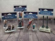 New Lot Of 4 Lemax And Carole Towne Christmas Village People And Street Lamps Lights