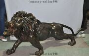64large Old China Fengshui Bronze Ferocious Africa Lion Beast Statue Sculpture
