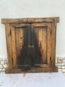 Old Rare Antique Wooden Handcrafted Indian Window Door With Brass Latch Lock