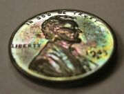 1943-d Steel Lincoln Wheat Penny - Uncirculated Rainbow Toned Colors