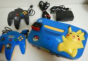 N64 Pikachu Edition Console Blue And Yellow - Expansion Pak Nus 007 【 Very Good 】