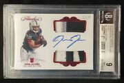 2019 Panini Flawless Josh Jacobs Rookie Dual Patch Auto Rc Ruby 12/15 Bgs 9