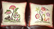 Lot 2 Vintage Embroidered Hand Made Pillow Jacobean Crewel Floral Handmade Pair