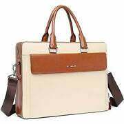 Women Oil Wax Leather Briefcases Slim Large Business 15.6 Beige With Brown