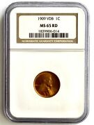 1909-vdb Lincoln Wheat Cent Penny - Ngc Ms 65 Rd