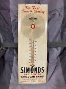 Original Simonds Saw Blades Woodworking Tools Advertising Tin Thermometer Sign