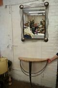 Vintage Signed Metal Foyer Marble Top Table And Mirror - Wall Hung