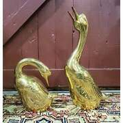 Pair Of Vintage 1980s Ethan Allen Home Collection Large Brass Geese