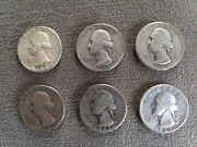 Washington Quarters - Lot Of 6 - 90 Silver 25c Us Coin 1942-1963 - Very Good