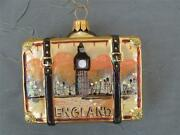 Gold England Suitcase - Blown Glass Christmas Ornament - Nordstrom New Poland