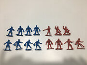 Vintage Lot 15 Plastic Baseball Players Action Figures Toys Red And Blue
