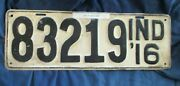 Vintage License Plate Indiana 1916 In Original Paint