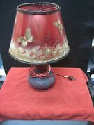 Vintage Van Briggle Art Glass Lamps-a Pair In Persian Red With Original Shades -