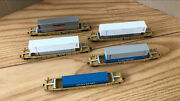 5 Walthers N Scale Double Stack Cars /containers - Mtl Kadee Trucks And Couplers