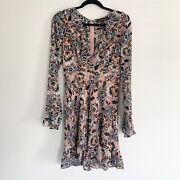 For Love And Lemons Gracie Floral Ruffle Long Sleeve Mini Dress Size Large