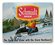 Schmidt Beer Snowmobile In Snow 15 Heavy Duty Usa Made Metal Advertising Sign