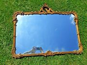 Antique French Rococo Large 44 X 36 Gilt Wood Mirror