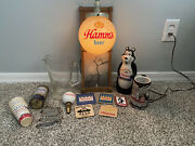 Lot Of Vintage Hamms Beer Collectibles Mug Pitcher Sign Coasters Etc