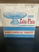 Cake Plate Early American Prescut Anchor Hocking Star Of David Footed In Box
