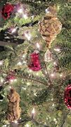 Gorgeous Set Of 40 Neiman Marcus Glass Gold Color Glitter Christmas Ornaments