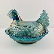 Vintage Indiana Glass Iridescent Blue Carnival Glass Hen On Nest Candy Dish