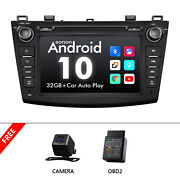 Cam+obd+ Android 10 8 Car Stereo Gps Navigation Dvd Usb Sd For Mazda 3 2010-13