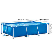 Hot Metal Frame Rectangular Swimming Pool Above Ground Square Pools Outdoor Usa