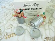 Dept 56 5209-4 Christmas Trash Garbage Cans Set Of 2 Metal Accessories Retired