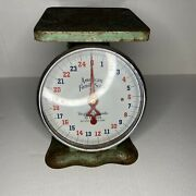 Vintage Antique American Family Scale Co. Kitchen Scale 25 Lbs Green Rusted