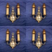Set Of Four 4 Rewired Antique Double Candle Wall Sconces 114f