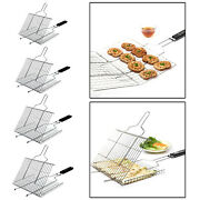 Portable Bbq Grill Basket With Handle For Grilling Fish Shrimp Clip Holder