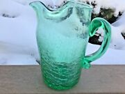 Lime Green Crackle Glass Blenko Pitcher Large Ice Lip Applied Handle