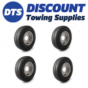 Trailer Silver Wheel Rim And Tyre Complete 145r10 8 Ply 500kgs 4 X 5.5 Inch Pcd X4