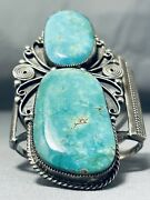 One Of The Best Museum Vintage Navajo 2 Turquoise Sterling Silover Bracelet