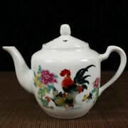 Chinese Rose Porcelain Handmade Exquisite Chicken Teapot 19489