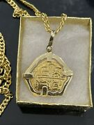 """14kt Solid Gold Atocha Coin Pendant With 22"""" Long 10kt Real Gold Chain"""